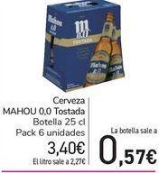 Oferta de Cerveza MAHOU 0,0 Tostada  por 3,4€