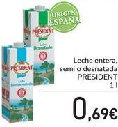 Oferta de Leche entera, semi o desnatada PRESIDENT  por 0,69€