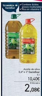 Oferta de Aceite de oliva 0,4º o 1º Carrefour por 10,4€