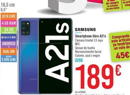 Oferta de Smartphone libre A21s SAMSUNG por 189€