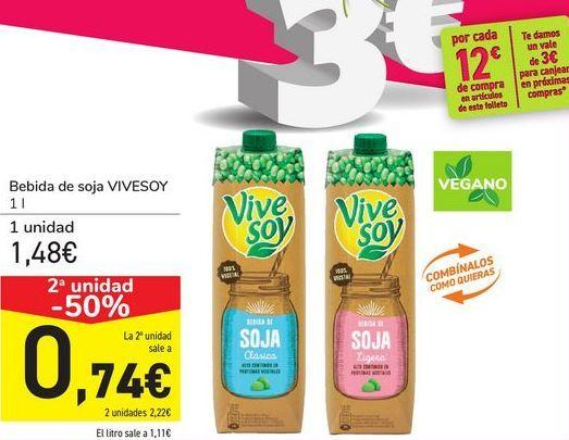 Oferta de Bebida de soja VIVESOY por 1,48€