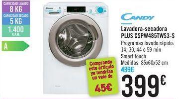 Oferta de Lavadora-secadora Plus CSPW485TWS3-S CANDY  por 399鈧�