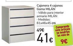 Oferta de Cajonera 4 cajones gama Milán  por 41€
