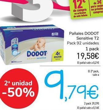 Oferta de Pañales DODOT Sensitive T2  por 19,58€