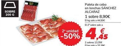 Oferta de Paleta de cebo en lonchas SÁNCHEZ ALCARAZ por 8,9€