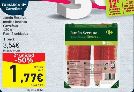 Oferta de Jamón Reserva medias lonchas Carrefour por 3,54€