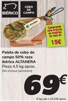 Oferta de Paleta de cebo de campo 50% raza ibérica ALTANERA por 69€