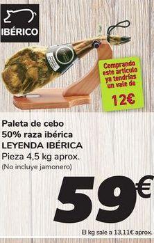 Oferta de Paleta de cebo 50% raza ibérica LEYENDA IBÉRICA por 59€
