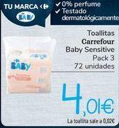 Oferta de Toallitas Carrefour Baby Sensitive  por 4,01€