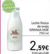 Oferta de Leche fresca de oveja GRANJA NOÉ por 2,59€