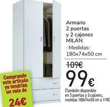 Oferta de Armario 2 puertas y 2 cajones MILÁN  por 99€