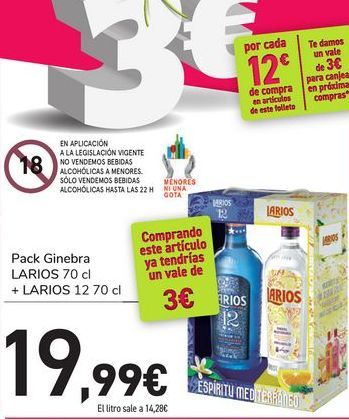Oferta de Pack Ginebra LARIOS + LARIOS 12 por 19,99€