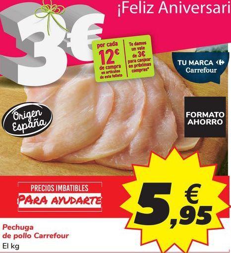 Oferta de Pechuga de pollo Carrefour por 5,95€