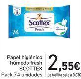Oferta de Papel higiénico húmedo fresh SCOTTEX  por 2,55€