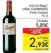 Oferta de D.O.Ca Rioja VIÑA CUMBRERO Tinto Crianza  por 5,85€