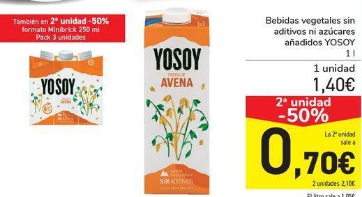 Oferta de Bebidas vegetales sin aditivos ni azúcares añadidos YOSOY por 1,4€