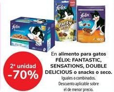 Oferta de En alimento para gatos FÉLIX, FANTASTIC, SENSATIONS, DOUBLE DELICIOUS o snack o seco por