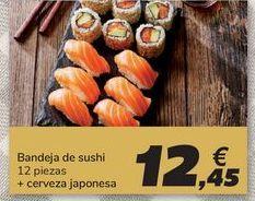 Oferta de Bandeja de sushi 12 piezas + cerveza japonesa por 12,45€