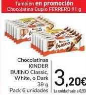 Oferta de Chocolatinas KINDER BUENO Classic, White, o Dark por 3,2€