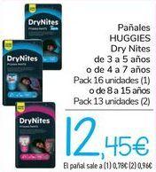 Oferta de Pañales HUGGIES DRY Nites  por 12,45€