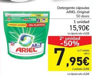 Oferta de Detergente cápsulas ARIEL Original  por 15,9€