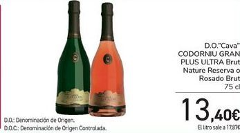 Oferta de D.O. Cava CODORNIU GRAN PLUS ULTRA Brut Nature Reserva o Rosado Brut  por 13,4€