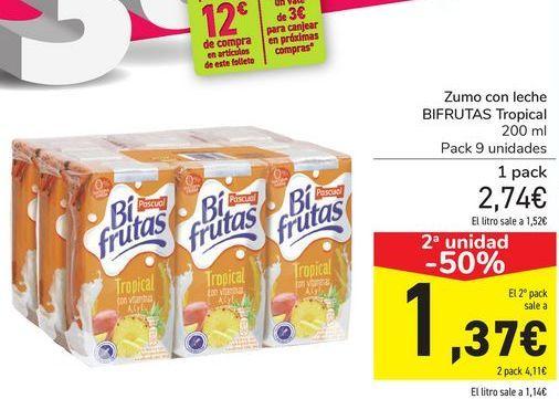 Oferta de Zumo con leche BIFRUTAS tropical  por 2,74€