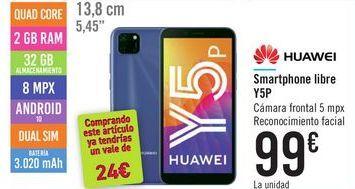 Oferta de Smartphone libre Y5P HUAWEI por 99鈧�