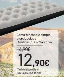 Oferta de Cama hinchable simple aterciopelada  por 12,9€