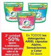 Oferta de En TODOS los detergentes ARIEL Cápsulas Alpine, Sensacionnes o Color  por