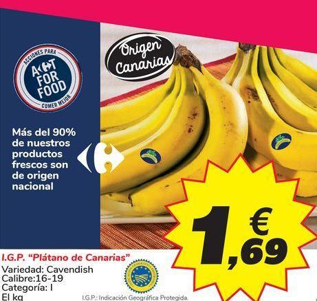 """Oferta de I.G.P. """"Plátano de Canarias"""" por 1,69€"""