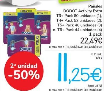 Oferta de Pañales DODOT Activity Extra  por 22,49€