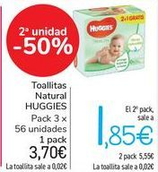 Oferta de Toallitas Natural HUGGIES  por 3,7€