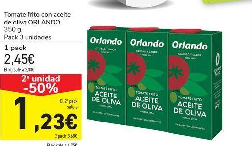 Oferta de Tomate frito con aceite de oliva ORLANDO por 2,45€