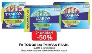 Oferta de En TODOS los TAMPAX PEARL, iguales o combinados  por