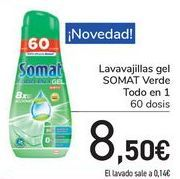 Oferta de Lavavajillas gel SOMAT Verde Todo en 1  por 8,5€