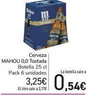 Oferta de Cerveza MAHOU 0,0 Tostada  por 3,25€