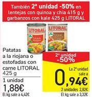 Oferta de Patatas a la riojana o estofadas con carne LITORAL por 1,88€