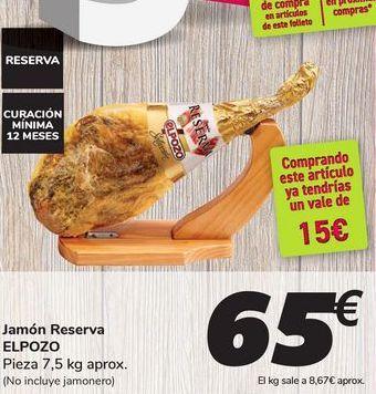 Oferta de Jamón Reserva ELPOZO por 65€