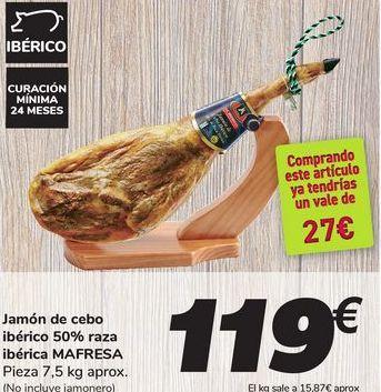 Oferta de Jamón de cebo ibérico 50% raza ibérica MAFRESA por 119€