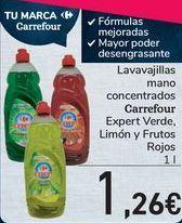 Oferta de Lavavajillas mano concentrados Carrefour Expert Verde, Limón y Frutos Rojos  por 1,26€
