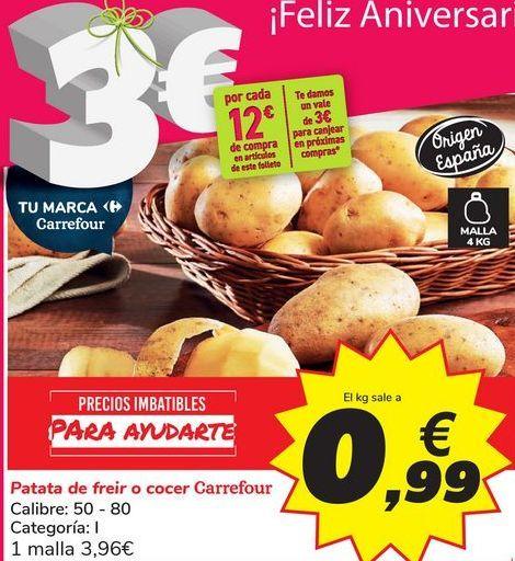 Oferta de Patata de freir o cocer Carrefour por 3,96€