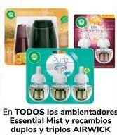 Oferta de En TODOS los ambientadores Essential Mist y recambios duplos y triplos AIRWICK por