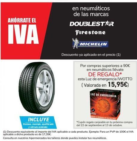 Oferta de En nemáticos de las marcas Doublestar, Firestone, Michelin por