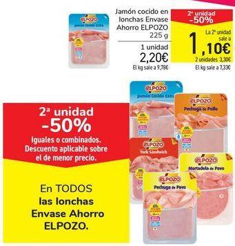 Oferta de Jamón cocido en lonchas Envase Ahorro ELPOZO por 2,25€