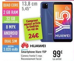 Oferta de Smartphone libre Y5P HUAWEI por 99€