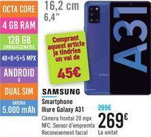 Oferta de Smartphone libre Galaxy A31 SAMSUNG  por 269€
