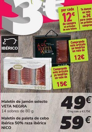 Oferta de Maletín de jamón selecto VETA NEGRA por 49€