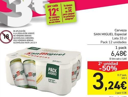 Oferta de Cerveza SAN MIGUEL Especial  por 6,48€