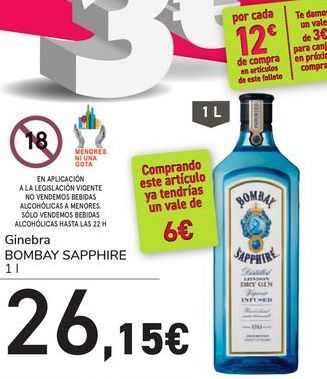 Oferta de Ginebra BOMBAY SAPPHIRE por 26,15€